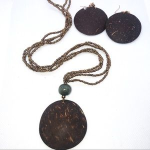 Jewelry - Boho Real Coconut Statement Necklace Earring Set